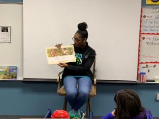 Guest reader at the African American Read-In